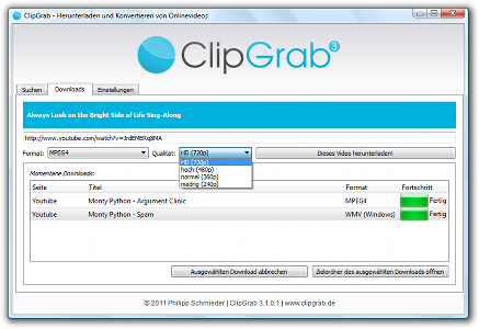 Screenshot showing ClipGrab performing the download of an HD video