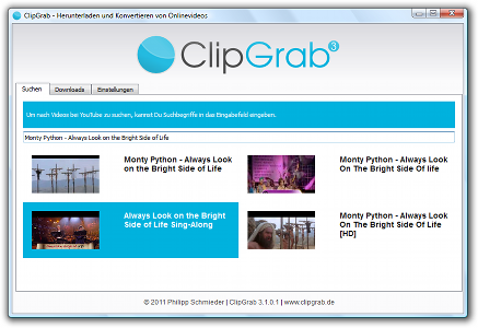 Screenshot showing ClipGrab performing a search on YouTube